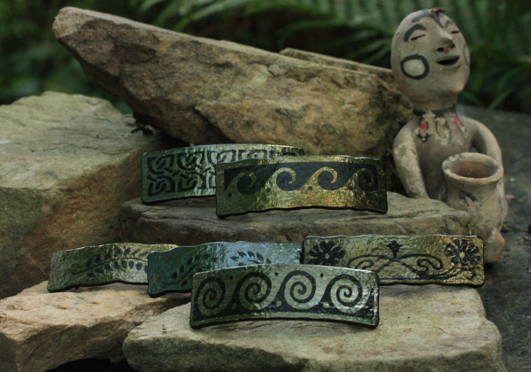 fused glass sandblasted antiquities barrettes